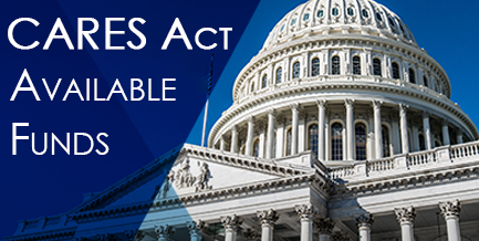 Cares Act Available Funds overlaid on graphic of capital building